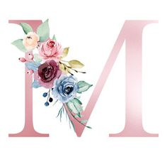 Floral alphabet, letter M with watercolor flowers and leaf. Monogram initials perfectly for wedding invitations, greeting card, logo, poster and other design. - Buy this stock illustration and explore similar illustrations at Adobe Stock