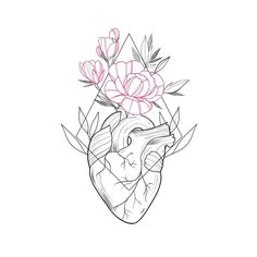 Super Ideas For Flowers Tattoo Designs Sketches Colour Rose Tattoos, Flower Tattoos, Black Tattoos, Body Art Tattoos, Flower Outline Tattoo, Heart Flower Tattoo, Line Art Design, Tattoo Sketches, Art Sketches