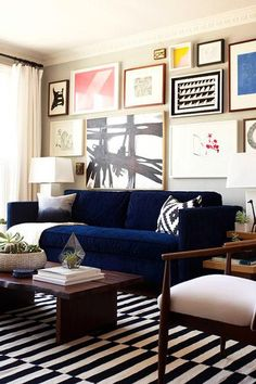 Deep Blues Eclectic Living RoomLiving