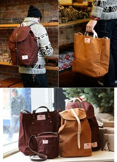 Men's canvas bags in beautiful warm colours