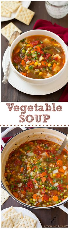 Vegetable Soup - 100x better than the canned stuff! This soup is amazing, I had 3 bowls! #soup #healthyrecipe #vegetablesoup