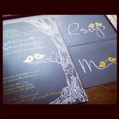 Love Birds Tree Wedding Invitation Sample Set by MERRILYDESIGNS