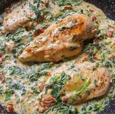 Chicken in creamy spinach parmesan sauce from my_tastyworld - Chefkoch.de Recipe: Chicken in Creamy Spinach Parmesan Sauce Chefkoch.de Recipe: Chicken in Creamy - Grilled Chicken Parmesan, Parmesan Sauce, Fruit Recipes, Paleo Recipes, Dinner Recipes, Paleo Pizza, Vegetarian Paleo, Grilled Fruit, Creamy Spinach