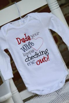 Valentine Onesie -- Baby Boy Valentine Onesie -- long sleeve onesie with funny saying. $22.00, via Etsy.