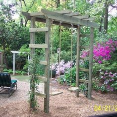 The wooden pergola is a good solution to add beauty to your garden. If you are not ready to spend thousands of dollars for building a cozy pergola then you may devise new strategies of trying out something different so that you can re Backyard Swings, Backyard Playground, Backyard Landscaping, Garden Swings, Tire Swings, Porch Swings, Playground Ideas, Landscaping Ideas, Kids Garden Swing