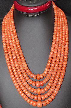 New Arrival 255g  necklace Antique Old Undyed beads Natural Salmon Pink Coral
