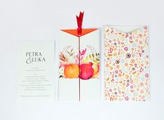 Wedding invitation design for autumn wedding. Bride decided she wants to be presented as orange, the groom is a pomgranate :)Enjoy!