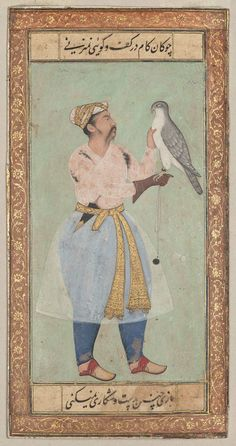 Portrait of a Nobleman with Falcon - Mughal Period painting
