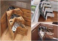 Practical Ideas For Awkward Kitchen Spaces: Corner Drawers - Find Fun Art Projects to Do at Home and Arts and Crafts Ideas