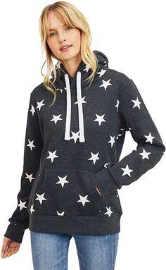 Amazon.com: esstive Women's Ultra Soft Fleece Midweight Casual Multi-Star Pullover Hoodie Sweatshirt, Heather Grey, X-Small: Clothing