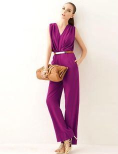 Commuter Solid Color Deep V-Neck Jumpsuit, Shop online for $21.00 Cheap Jumpsuits & Playsuits code 717475 - Eastclothes.com