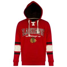 Chicago Blackhawks Mens Red Text Design Striped Hooded Sweatshirt by G-III #Chicago #Blackhawks #ChicagoBlackhawks