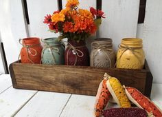 Fall Rustic Planter Box with 5 Painted Mason Jars.Table Centerpiece.Rustic Home Decor.Fall Decor.Thanksgiving.Pumpkin.Burnt Orange by LacyBellesBoutique on Etsy