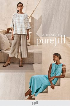 Light fabrics, relaxed shapes and shades inspired by the seaside—our new Pure Jill styles define summer ease. Everyday Casual Outfits, Summer Outfits, Define Summer, Summer Clothing, Simple Shapes, Day Dresses, Seaside, Fabrics, Shades