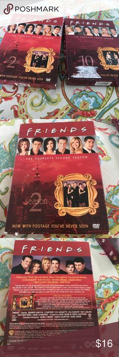 Friends Seasons 2 and 10 on DVD. The complete 2nd and 10th season of friends, one of the most iconic shows of the 90's on DVD. This includes the final episode of the series in season 10. The only damage is some slight tears on the box but there is no damage to the DVDs. No trades sorry Other