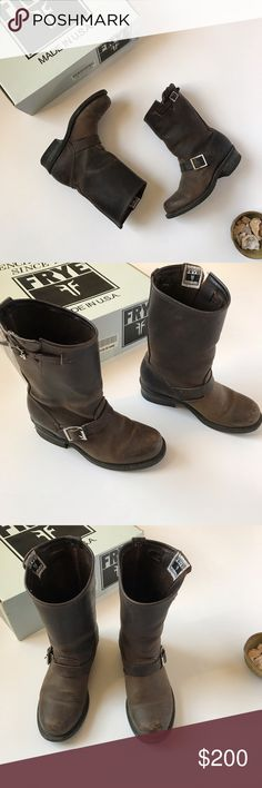 FRYE Engineer boots 12 R Gaucho Dark Brown size 7 This is a pair of classic Frye leather Engineer boots in the color Gaucho (deep brown) with silver buckles. I love these boots tucked into leggings with a long tunic, with jeans and a chambray shirt, and pairs with peasant style dresses! They are women's size 7. They are pre-loved with with scuffs and wear on the tread, but they have tons of life left in them. 🌼 This is the type of boot you can have for years! Frye Shoes Ankle Boots…