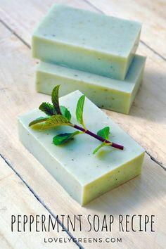 Natural Peppermint Soap Recipe + Instructions #soap