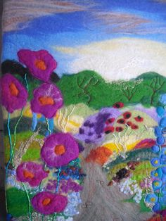 felt picture wet felted flower garden by SueForeyfibreart on Etsy, $95.00