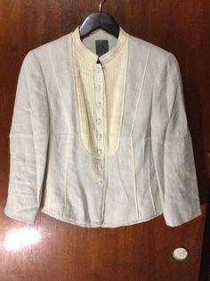 Calvin Klein CK Women's Linen Beige Blouse Size 10 EUC Button Front #CalvinKlein #Blouse #Casual