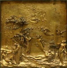 Lorenzo Ghiberti (Italian, 1378–1455). Adam and Eve Panel, from Gates of Paradise, 1425–52. Gilt bronze; 80 x 80 cm (31 ½ in. x 31 ½ in.). Collection of the Museo dell'Opera del Duomo.