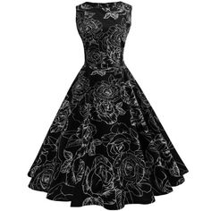 Women Vintage Sleeveless Swing Dress 0B Vintage Skirt 4e649705a35e