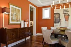 Dining room color schemes orange wall colors contemporary dining room paint color schemes decor ideas dining room color ideas with chair rail Orange Dining Room, Dining Room Design, Living Room Orange, Dining Room Colour Schemes, Orange Living Room Walls, House Interior, Burnt Orange Living Room, Modern Dining Room, Dining Room Colors