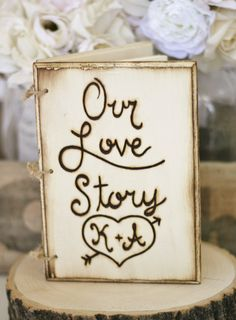 Personalized Rustic Guest Book Engraved Wood by braggingbags, $59.99