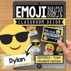 "22 Emoji Accents Pieces to decorate the classroomThese editable Emoji bulletin board accents make a great door, welcome bulletin, name tags, labels, and more! Also includes ready-made signs for K-6th grade and a blank version to make your own..zip file includes: 22 Emoji Accents - editable in both the included editable .pdf and a PowerPoint file. 1 Welcome sign 7 ""The Many Faces of...."" sign - ready made for K-6th grade. 1 blank sign to make your own message in both editable .pdf and…"