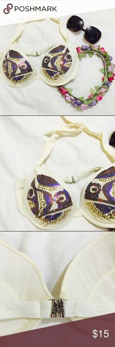 Sequined Bikini Top Cream colored bikini top with purple and gold sequins. This top is so fabulous and makes a statement! Fits a B or C cup maybe even a D, perfect condition! (Not brand listed) H&M Swim Bikinis