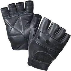 Leather Fingerless Gloves, Soft Lambskin Leather (S, Black)