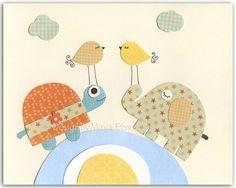 Nursery art prints, Baby Room decor, Nursery Art Decor, Kids Print..Yellow Birds, baby blue and orange via Etsy