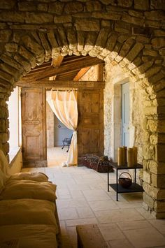 At the foot of the Cevennes in Southern France // aux pieds des Cevennes dans le… French Cottage, French Farmhouse, French Country, Country Style, French Interior, Tuscan Style, Stone Houses, Rustic Interiors, Beautiful Space