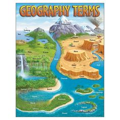Mountain channel atoll tundra Expand your vocabulary of geography terms with this chart. Extra Value: Reproducibles on back. 17 x Teaching English, Learn English, Teaching Geography, Geography Classroom, Geography Quotes, Geography Revision, Basic Geography, Geography Worksheets, Geography Activities