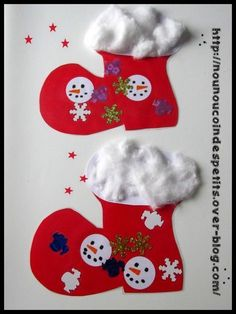 - Nos bottes réalisé ce matin , que du collage ( 12 et 15 mois ) , les petits ont découvert que le coton ca colle aux doigts !!! - les éléments sont découpé à la perforatrice , pour les bonhommes de neige ce sont des rond découpé à la perfo grand modèle.... botte...
