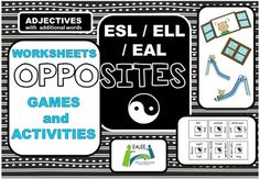 Opposites Worksheets, Games and Activities for. English Writing Skills, Teaching English, Esl, Eal Resources, Opposites Worksheet, English Worksheets For Kids, Root Words, English Language Learners, Vocabulary Activities