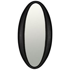 Noir Woolsey Charcoal Mirror in Black, Transitional Oval Mirror, Wood Mirror, Black Mirror, Transitional Wall Mirrors, Black Candelabra, Burke Decor, Fine Linens, Natural Wood, Furniture