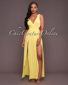 Gabby Yellow Slit Legs Bodysuit Maxi Dress