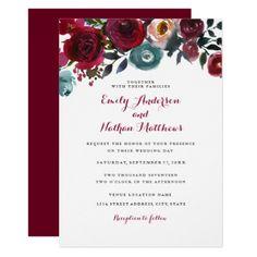 Burgundy Red Floral Fall Wedding Invitation - burgundy style stylish cyo diy customize