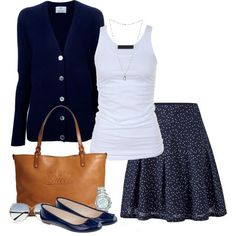 Classic navy and white casual outfit