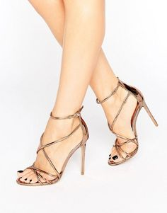 09e04e26089 Office Spindle Rose Gold Mirror Strappy Heeled Sandals Shoes Heels