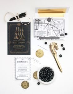 Susan + Thomas's, Art Deco inspired stationery suite - One Plus One Design