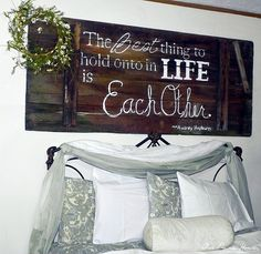 LOVE this!! we have a little picture frame but I'd much rather have a big picture/sign over our bed