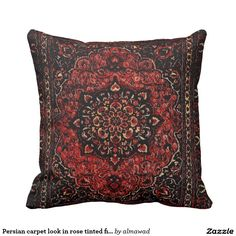 Persian carpet look in rose tinted field outdoor pillow