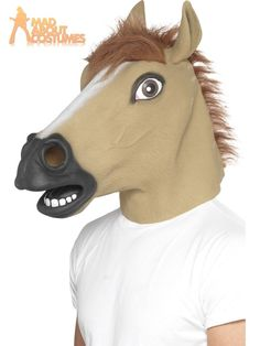 Adult Horse Mask Overhead Farm Animal Jockey Funny Fancy Dress Panto Accessory