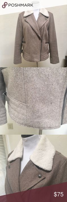 Wool Moto Jacket Wool Moto jacket with removable faux fur collar and side buckles. Worn a handful of times and in great used condition. Measurements only by request. From factory store. Banana Republic Jackets & Coats