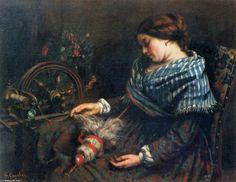 'Der schlafende Spinner', öl auf leinwand von Gustave Courbet (1819-1877, France)