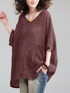 Plus Size Vintage Women Solid Color V-neck Half Sleeve Blouse BazaCenters. Mode Boho, Plus Size Kleidung, Plus Size Vintage, Linen Tunic, Linen Blouse, Linen Dresses, Mode Inspiration, Boho Fashion, Fashion Sale