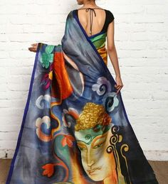 Abstract buddha Handpainted organza saree - Only on order!