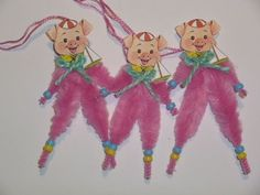 Vintage-style Chenille Easter Piggie Primitive Ornaments, set of 3 #Seller