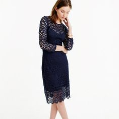 "We made a fitted sheath dress with lace sourced from a mill in Rhode Island (that's been perfecting the art of lace making since 1859) and stopped the lining just short of the hem, so you can show off a little more leg. It <i>is </i>spring, after all. <ul><li>Sheath silhouette.</li><li>Falls above knee, 41"" from high point of shoulder (based on size 6).</li><li>Poly.</li><li>Back zip.</li><li>Lined.</li><li>Dry clean.</li><li>Import.</li></ul>"